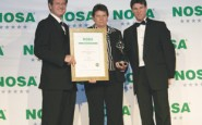 Receiving their platinum Noscar awards from Nosa�s Justin Hobday and Duncan Carlisle are, Debbie Crawley, from Air Products South Africa�s head office �