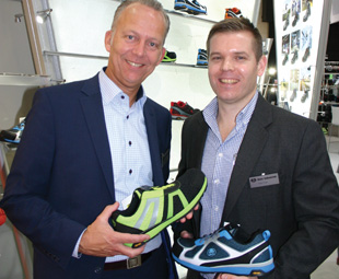 Harm Daems, global director of Bata Industrial (left), and Adam Pugh, Bata Industrial regional manager for Africa, with the new Bright range of safety shoes.