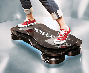 "RIGHT: The Hendo Hoverboard uses magnetic engines to levitate the board and ""rider"" around."
